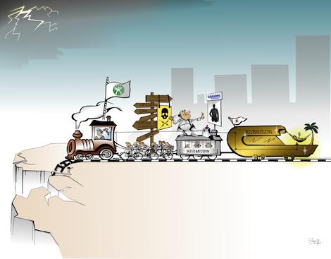 Avenir sombre pour le Groupe Astek ; caricature avec Galvaudon, Platane et Laberne