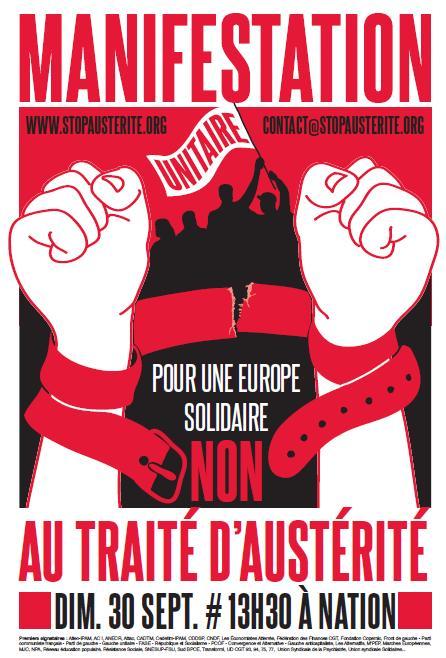 Manifestation - Pour une Europe solidaire, non au traité d'austérité - dimanche 30 septembre 13h30 à Nation